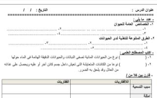 أوراق عمل أحياء للصف العاشر الفصل الثاني ثانوية سلمان الفارسي 2018