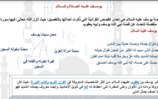 تقرير اسلامية عاشر النبي يوسف عليه الصلاة والسلام