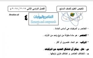 مذكرة علوم العناصر والمركبات للصف السابع اعداد ابراهيم علي الفصل الثاني