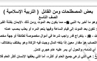المصطلحات ومن قال تربية اسلامية للصف التاسع الفصل الاول اعداد عبدالمحسن محمد