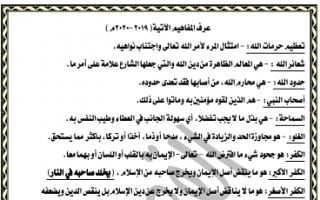 تعاريف إسلامية للصف الثاني عشر الفصل الثاني