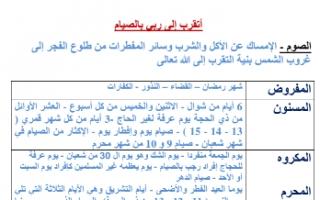 تقرير إسلاميه للصف الثامن أتقرب إلى ربي بالصيام