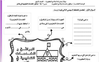 ورقة عمل بلادي الكويت الوحدة الخامسة للصف الرابع الفصل الثاني اعداد زينب بن نخي