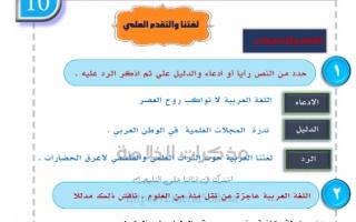 مذكرة لغتنا والتقدم العلمي للصف الحادي عشر الفصل الاول للمعلم عبدالناصر حسن يوسف