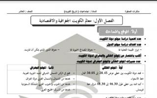 مذكرة تاريخ الكويت فصل معالم الكويت الجغرافية والاقتصادية للصف العاشر