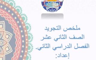 ملخص تجويد للصف الثاني عشر الفصل الثاني 2019 ثانوية زينب بنت محمد