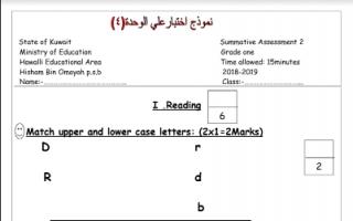 نماذج اختبار على لغة إنجليزية (5+4 )unites للصف الأول للمعلمة سالي صالح