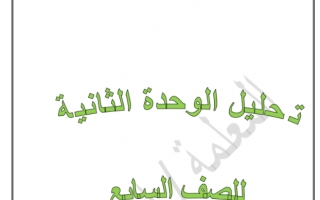تحليل الوحدة الثانية لغة عربية للصف السابع إعداد إيمان علي الفصل الثاني