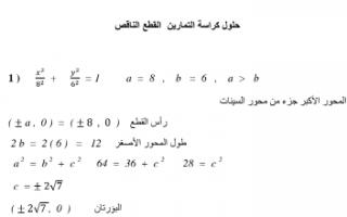 حل تمارين القطع الناقص رياضيات للصف الثاني عشر علمي الفصل الثاني