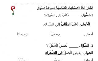 أوراق عمل أدوات الاستفهام لغة عربية الصف الثاني الفصل الأول