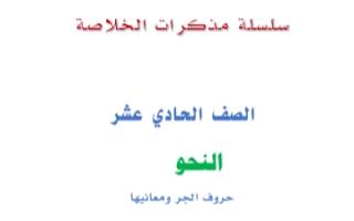 مذكرة نحو حروف الجر ومعانيها عربي للصف الحادي عشر الفصل الثاني إعداد أ.عبد الناصر حسن