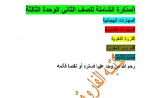مذكرة شاملة الوحدة الثالثة لغة عربية للصف الثاني للمعلم الفاروق