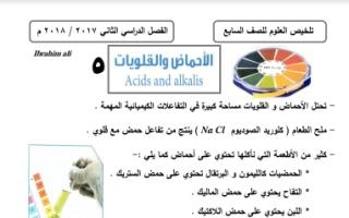 مذكرة علوم الاحماض والقلويات للصف السابع اعداد ابراهيم علي الفصل الثاني