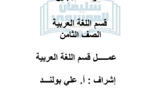 مراجعة الوحدة الاولى لغة عربية للصف الثامن مدرسة سليمان ربيع الموسوي