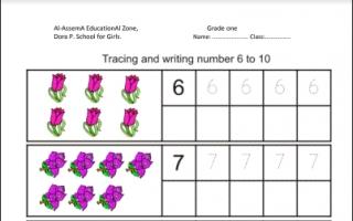 ورقة عمل لغة إنجليزية الأعداد للصف الأول للمعلمة زينب غالب