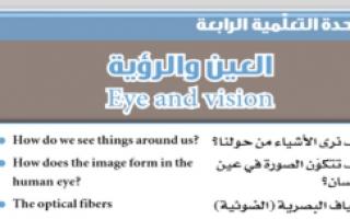 بنك أسئلة علوم وحدة العين والرؤية غير محلول للصف الثامن الفصل الأول
