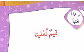 حل وحدة قيم تعلينا لغة عربية للصف الخامس