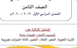 مذكرة الامتحان النهائي لغة عربية للصف الثامن اعداد وجيه فوزي الهمامي
