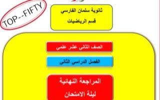 المراجعة النهائية رياضيات للصف الثاني عشر علمي الفصل الثاني ثانوية سلمان الفارسي 2021