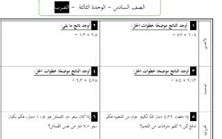 مراجعة الوحدة الثالثة رياضيات للصف السادس الفصل الاول