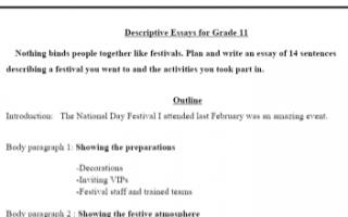 مذكرة المقال الوصفي انجليزي للصف الحادي عشر الفصل الأول