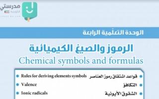 حل وحدة الرمز والصيغ الكيميائية علوم للصف التاسع