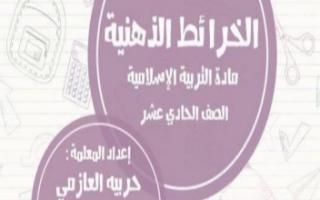 مذكرة خرائط ذهنية إسلامية للصف الحادي عشر الفصل الأول إعداد أ.حربيه العازمي