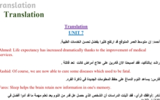 حل بنك أسئلة الترجمة انجليزي للصف الثاني عشر الفصل الثاني إعداد أ.مادلين نبيل