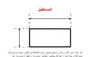 تقرير المستطيل رياضيات للصف السابع