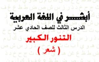 مذكرة التنور الكبير عربي للصف الحادي عشر الفصل الثاني إعداد أ.هاني البياع