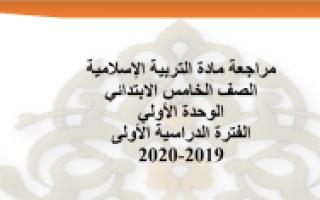 مراجعة الوحدة الأولى للتربية الإسلامية للصف الخامس الفصل الأول إعداد المعلمة تهاني السعيدي