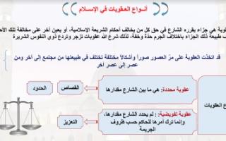 تقرير اسلامية للصف العاشر أنواع العقوبات في الإسلام