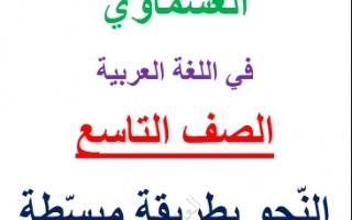 مذكرة النحو للصف التاسع اعداد العشماوي