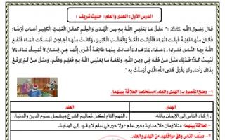 مذكرة الهدى والعلم لغة عربية للصف الثاني عشر الفصل الثاني