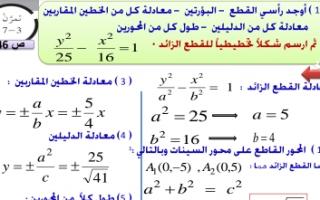 حل تمارين القطع الزائد رياضيات للصف الثاني عشر علمي الفصل الثاني