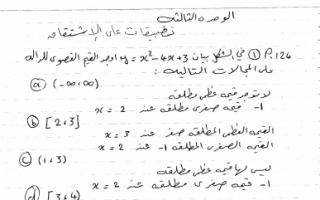 الوحدة الثالثة تطبيقات الاشتقاق رياضيات للصف الثاني عشر