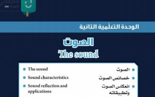 حل وحدة الصوت علوم للصف التاسع