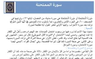 تقرير قرآن الصف الحادي عشر سورة الممتحنة