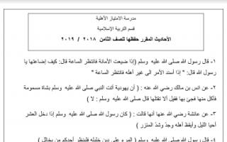 مذكرة إسلامية للصف الثامن اعداد محمد علي الفصل الثاني