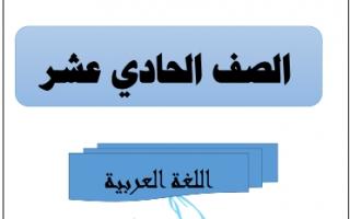 مذكرة اللغة العربية للصف الحادي عشر الفصل الاول للمعلم احمد المناع